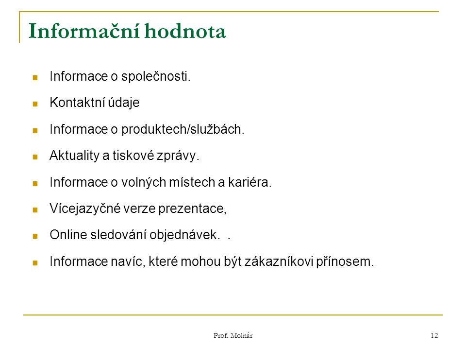 Informační hodnota Informace o společnosti. Kontaktní údaje Informace o produktech/službách.