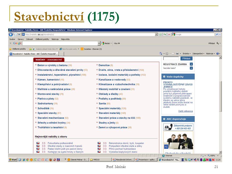 StavebnictvíStavebnictví (1175) Prof. Molnár 21