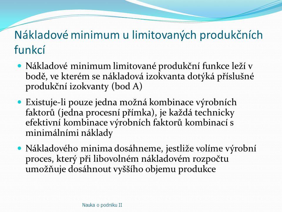 Nákladové minimum u limitovaných produkčních funkcí Nákladové minimum limitované produkční funkce leží v bodě, ve kterém se nákladová izokvanta dotýká