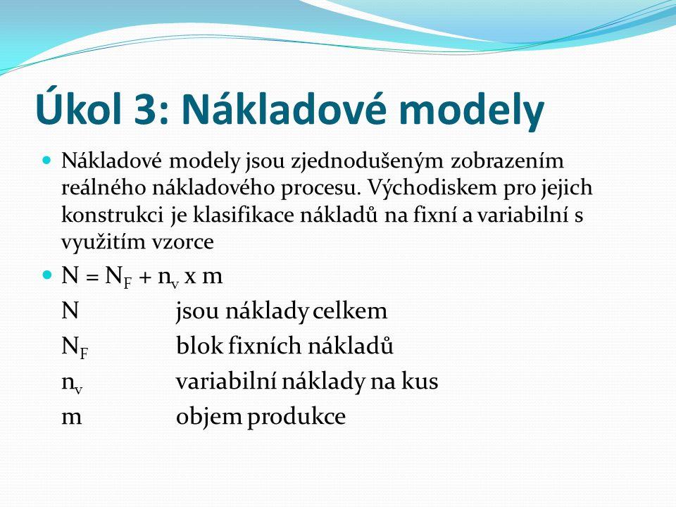 Úkol 3: Nákladové modely Nákladové modely jsou zjednodušeným zobrazením reálného nákladového procesu. Východiskem pro jejich konstrukci je klasifikace