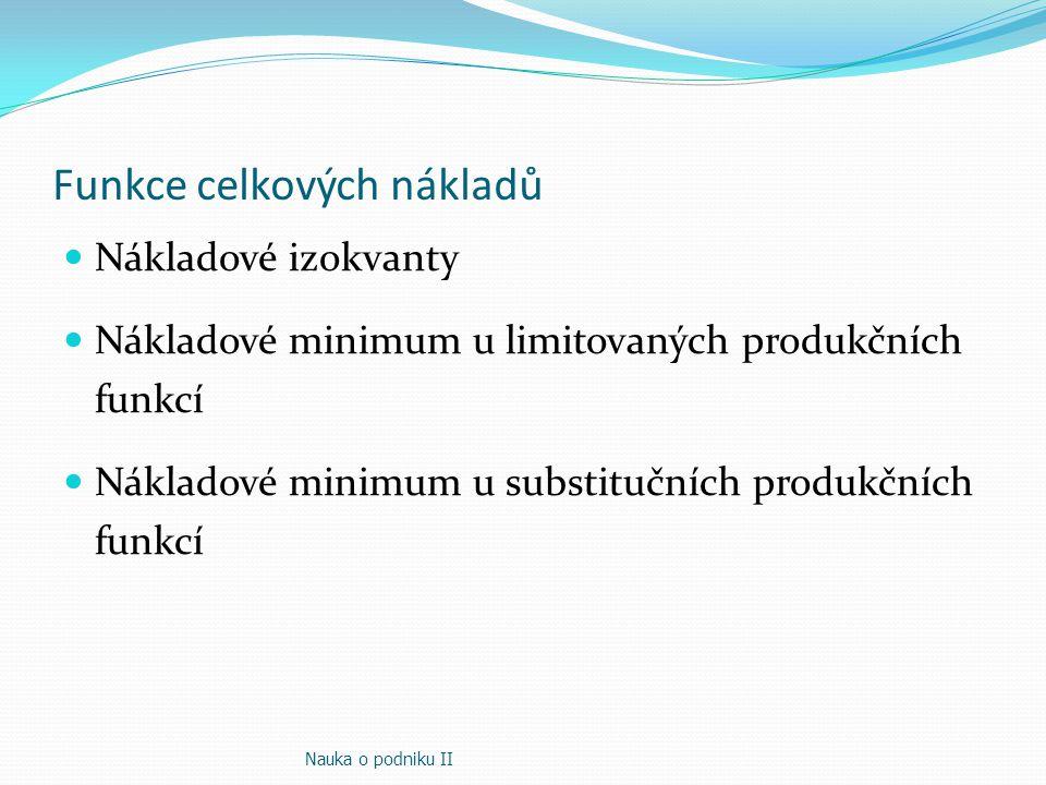 Nákladové izokvanty Produkční izokvanta – vyjádření technicky efektivních kombinací výrobních faktorů vedoucích k danému výrobnímu množství Nákladová izokvanta – vyjádření kombinace oceněných výrobních faktorů vedoucí k dosažení daného nákladového rozpočtu Nauka o podniku II