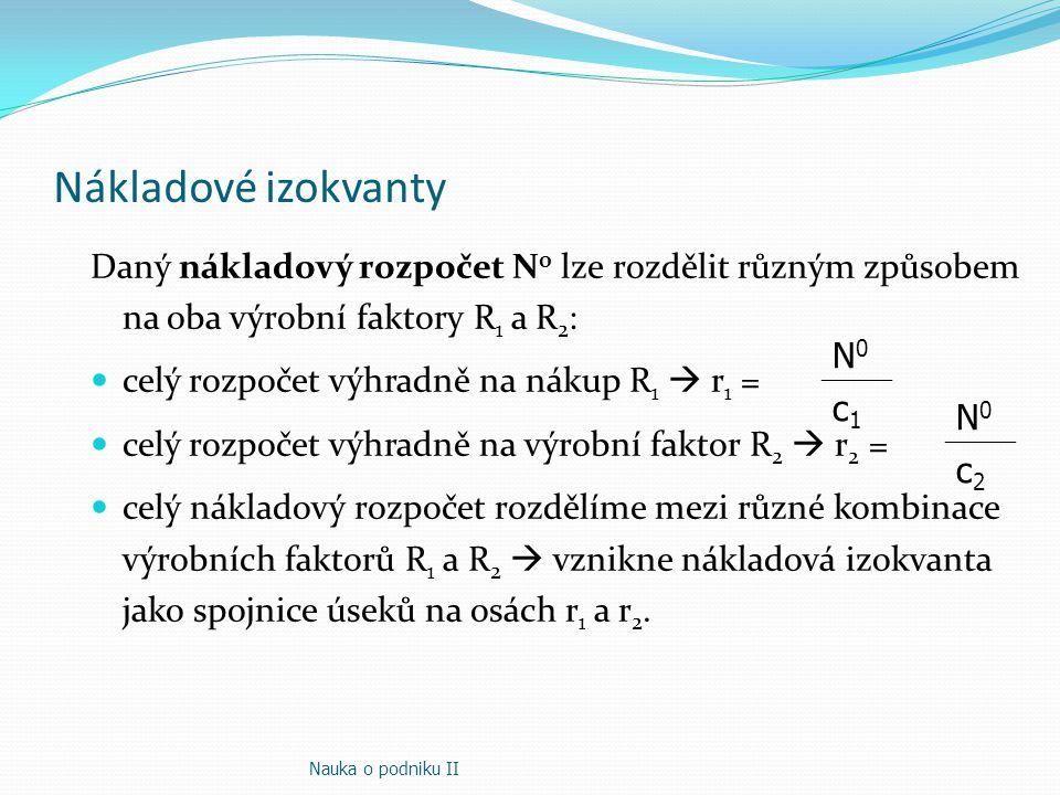 Nákladové izokvanty c2c2 N0 N0 c1c1 N0 N0 0 r1r1 r2r2 N0N0 N1N1