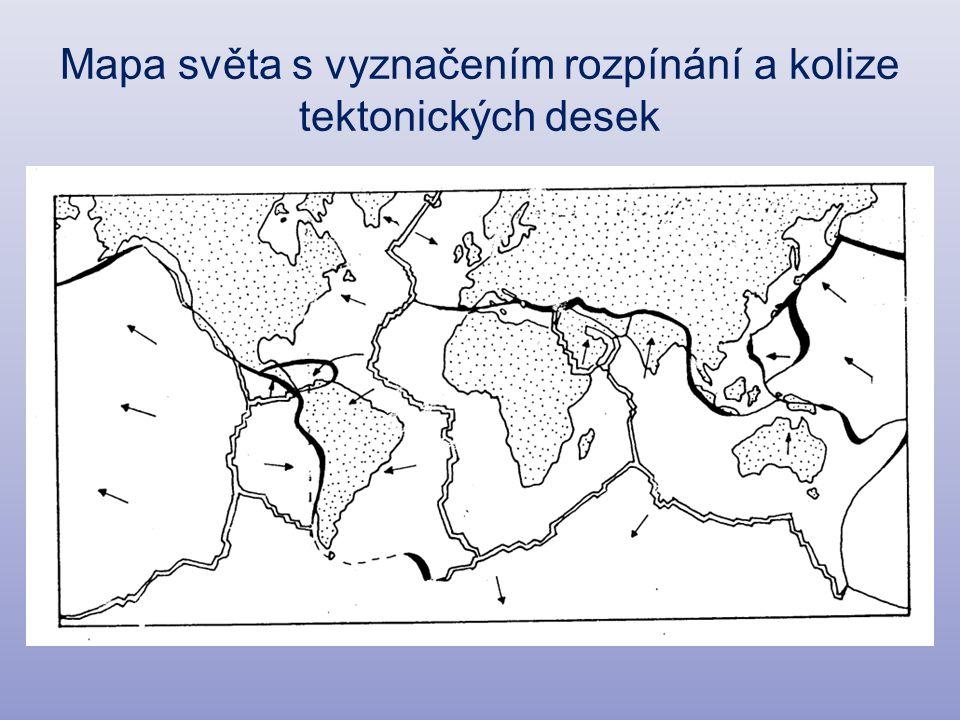 Mapa světa s vyznačením rozpínání a kolize tektonických desek