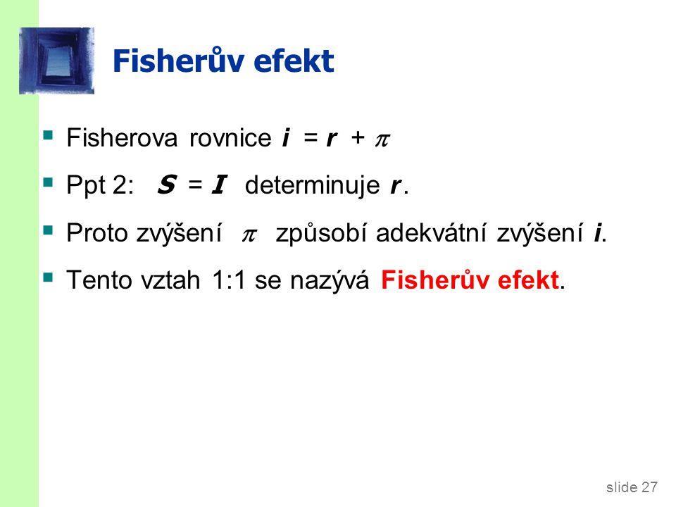slide 27 Fisherův efekt  Fisherova rovnice i = r +   Ppt 2: S = I determinuje r.  Proto zvýšení  způsobí adekvátní zvýšení i.  Tento vztah 1:1 s