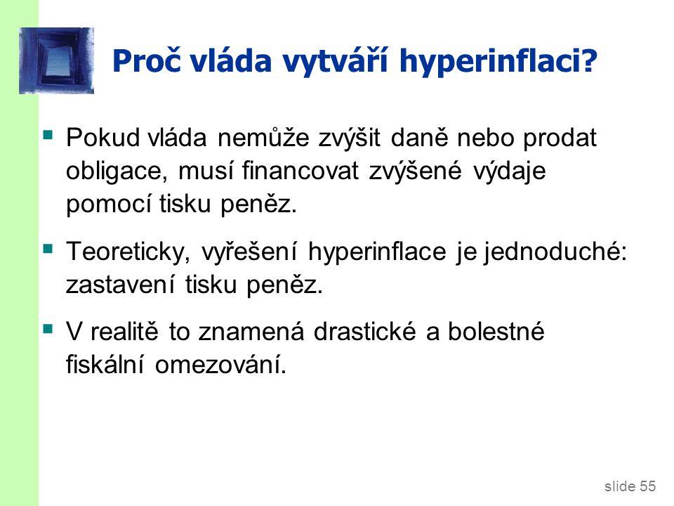 slide 55 Proč vláda vytváří hyperinflaci?  Pokud vláda nemůže zvýšit daně nebo prodat obligace, musí financovat zvýšené výdaje pomocí tisku peněz. 