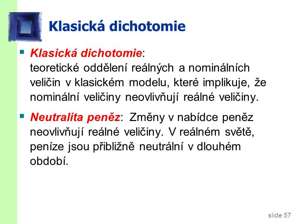 slide 57 Klasická dichotomie  Klasická dichotomie: teoretické oddělení reálných a nominálních veličin v klasickém modelu, které implikuje, že nominál