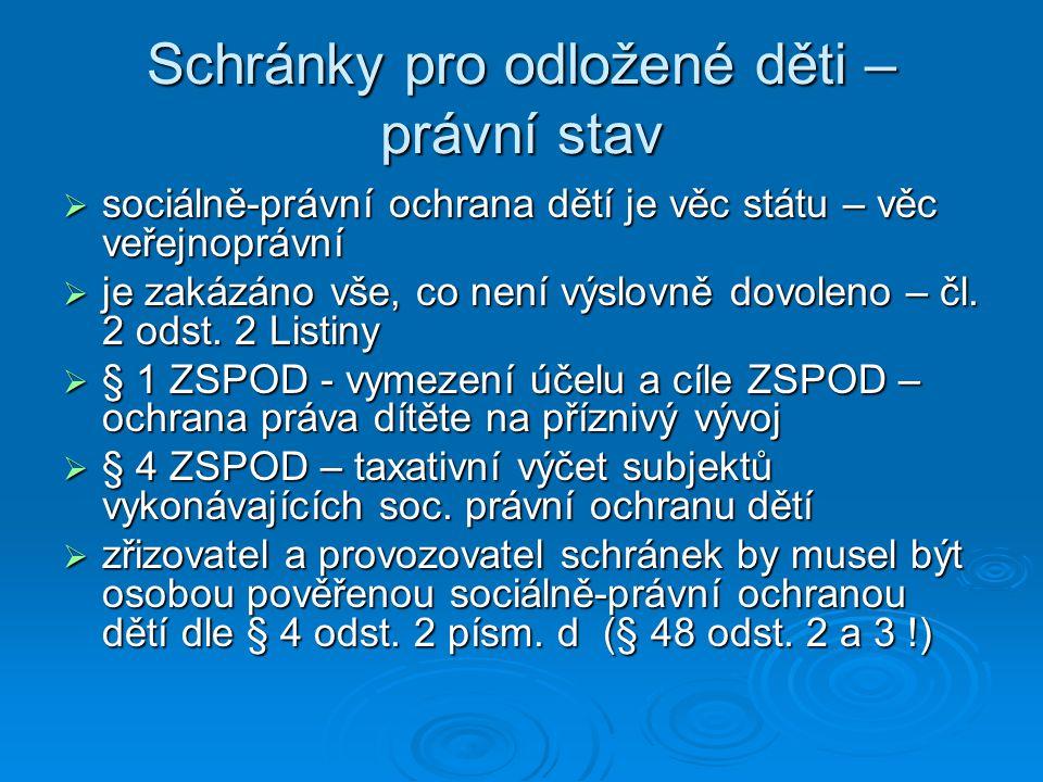 Schránky pro odložené děti – právní stav  sociálně-právní ochrana dětí je věc státu – věc veřejnoprávní  je zakázáno vše, co není výslovně dovoleno – čl.
