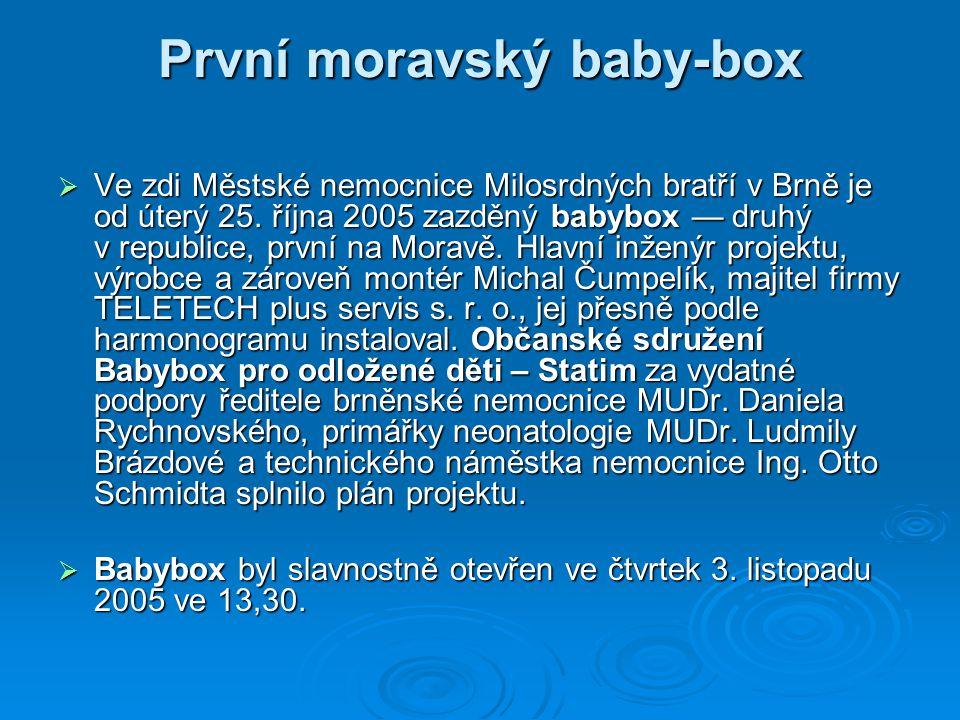 První moravský baby-box  Ve zdi Městské nemocnice Milosrdných bratří v Brně je od úterý 25.