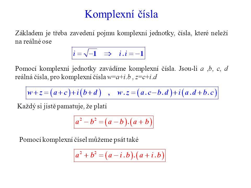 Komplexní čísla Základem je třeba zavedení pojmu komplexní jednotky, čísla, které neleží na reálné ose Pomocí komplexní jednotky zavádíme komplexní čísla.