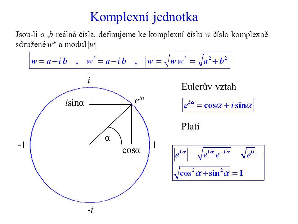 Komplexní jednotka Jsou-li a,b reálná čísla, definujeme ke komplexní číslu w číslo komplexně sdružené w* a modul |w| 1 i -i-i cosα isinα α eiαeiα Eulerův vztah Platí