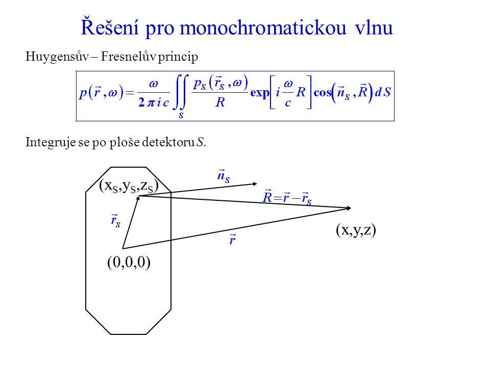 Řešení pro monochromatickou vlnu Huygensův – Fresnelův princip Integruje se po ploše detektoru S.