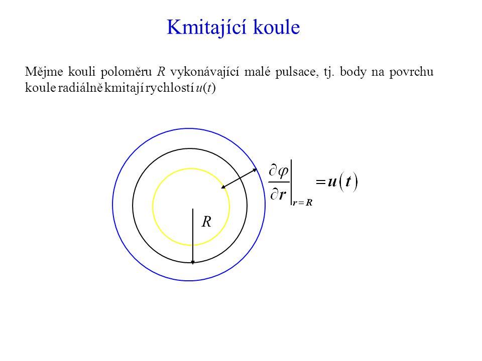 Kmitající koule Mějme kouli poloměru R vykonávající malé pulsace, tj.
