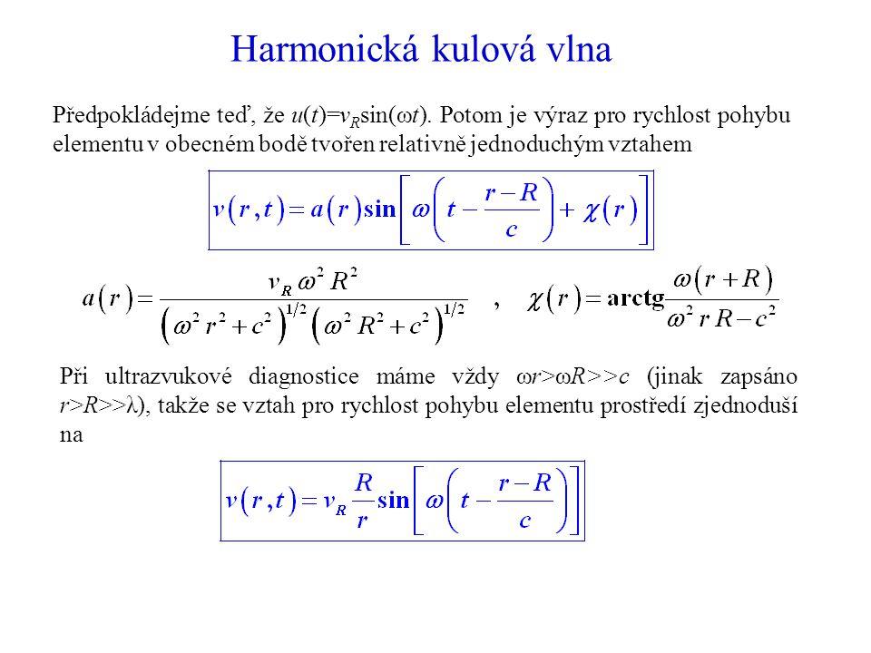 Harmonická kulová vlna Předpokládejme teď, že u(t)=v R sin(ωt).