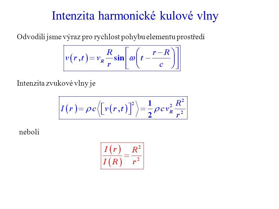 Intenzita harmonické kulové vlny Odvodili jsme výraz pro rychlost pohybu elementu prostředí Intenzita zvukové vlny je neboli