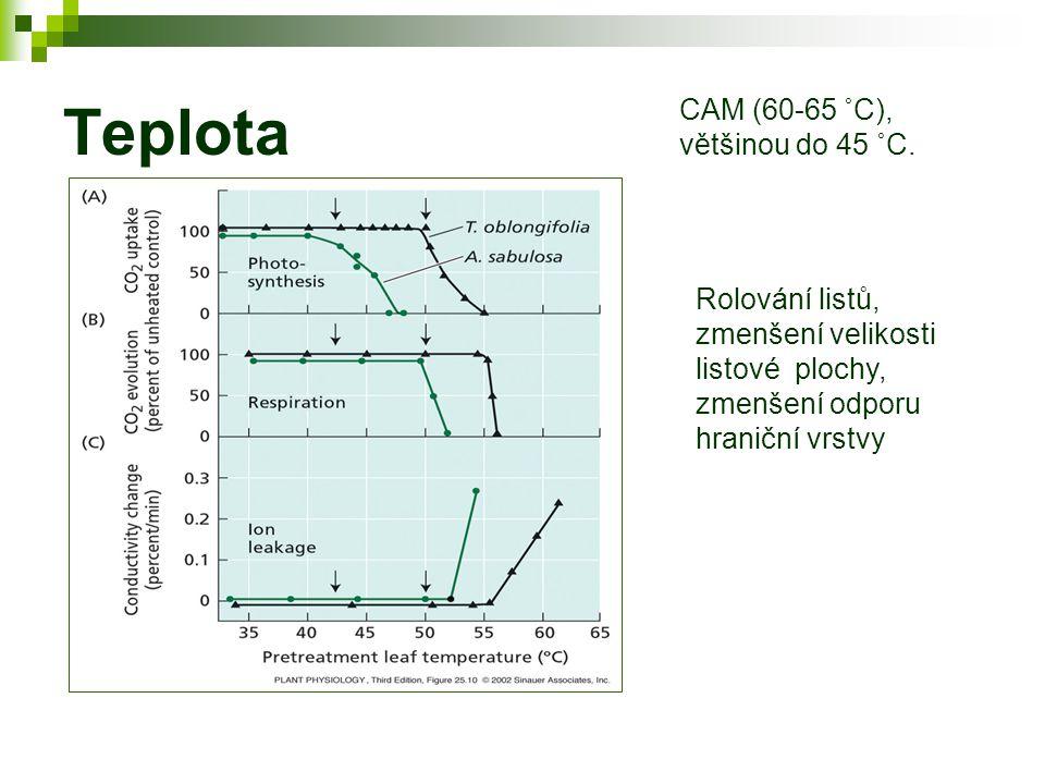 Teplota CAM (60-65 ˚C), většinou do 45 ˚C.