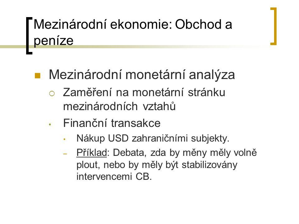 Mezinárodní monetární analýza  Zaměření na monetární stránku mezinárodních vztahů Finanční transakce Nákup USD zahraničními subjekty. – Příklad: Deba