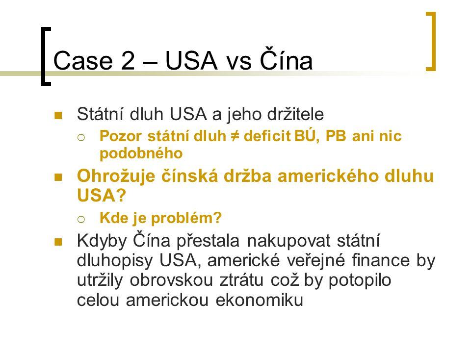 Case 2 – USA vs Čína Státní dluh USA a jeho držitele  Pozor státní dluh ≠ deficit BÚ, PB ani nic podobného Ohrožuje čínská držba amerického dluhu USA