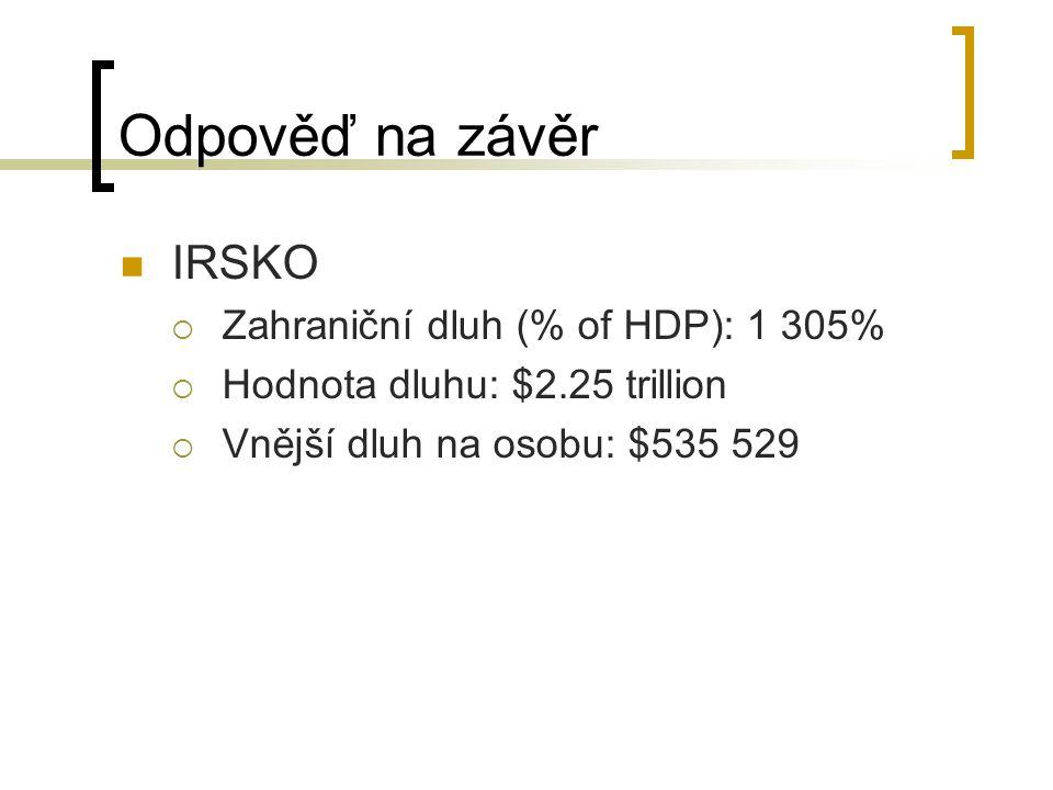 Odpověď na závěr IRSKO  Zahraniční dluh (% of HDP): 1 305%  Hodnota dluhu: $2.25 trillion  Vnější dluh na osobu: $535 529