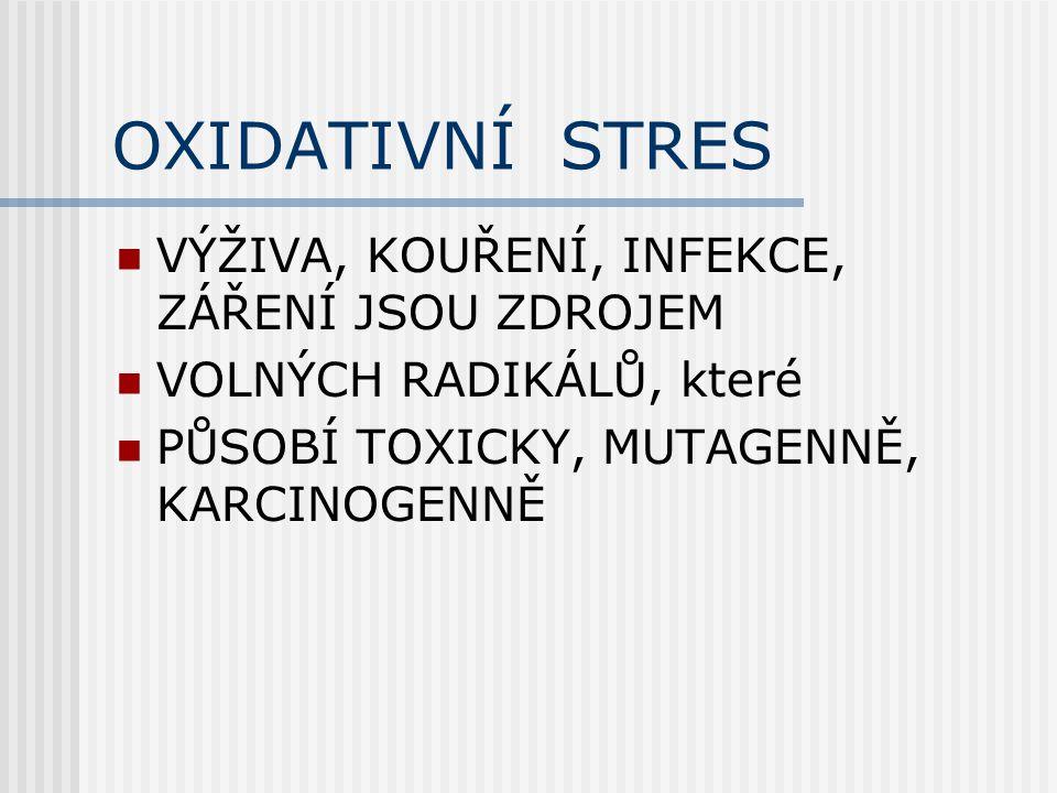 OXIDATIVNÍ STRES VÝŽIVA, KOUŘENÍ, INFEKCE, ZÁŘENÍ JSOU ZDROJEM VOLNÝCH RADIKÁLŮ, které PŮSOBÍ TOXICKY, MUTAGENNĚ, KARCINOGENNĚ