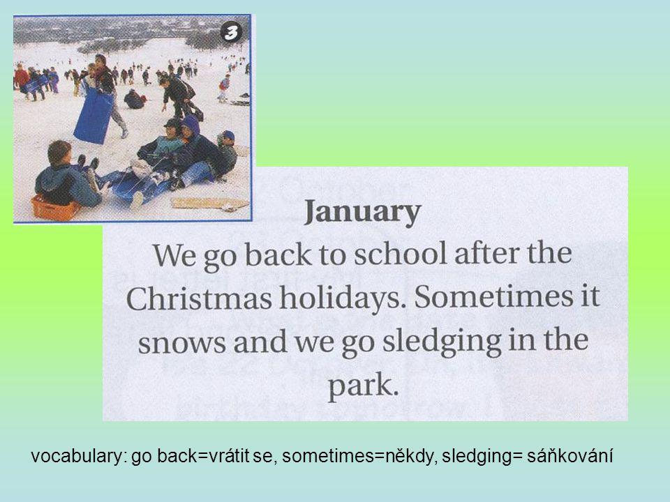 vocabulary: have a good time=užít si, pobavit se, New Year=Silvestr