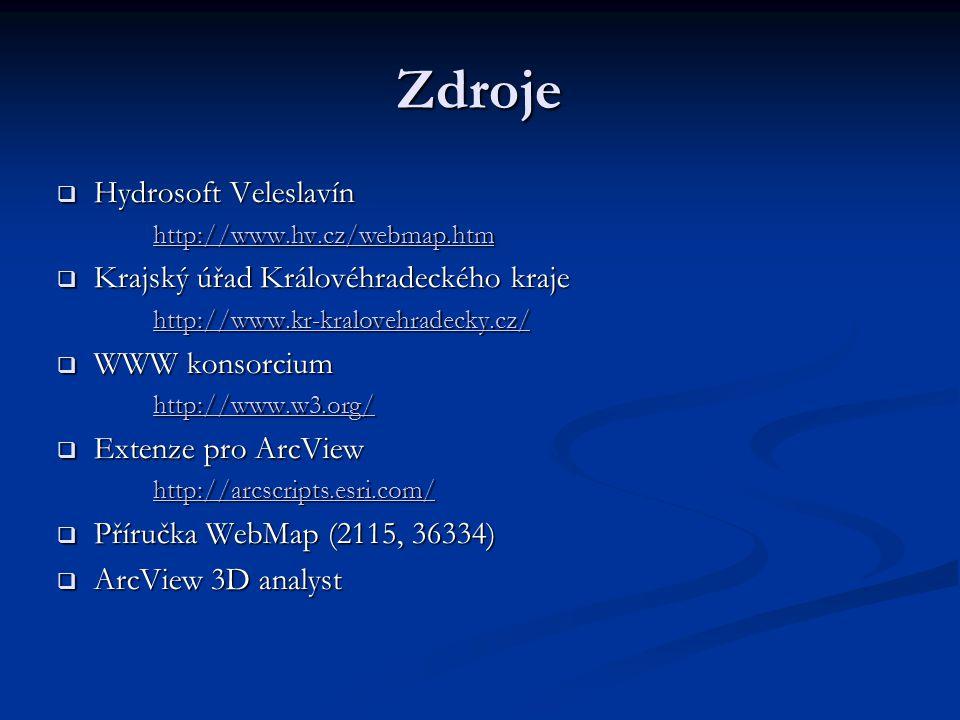 Zdroje  Hydrosoft Veleslavín http://www.hv.cz/webmap.htm  Krajský úřad Královéhradeckého kraje http://www.kr-kralovehradecky.cz/  WWW konsorcium http://www.w3.org/  Extenze pro ArcView http://arcscripts.esri.com/  Příručka WebMap (2115, 36334)  ArcView 3D analyst