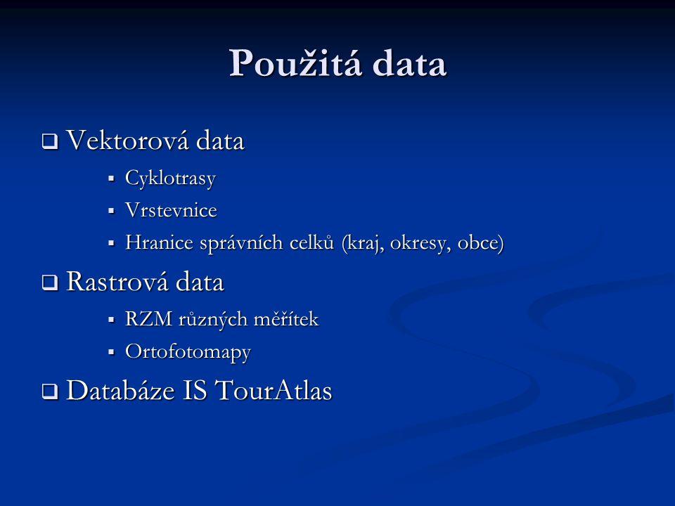 Použitá data  Vektorová data  Cyklotrasy  Vrstevnice  Hranice správních celků (kraj, okresy, obce)  Rastrová data  RZM různých měřítek  Ortofotomapy  Databáze IS TourAtlas