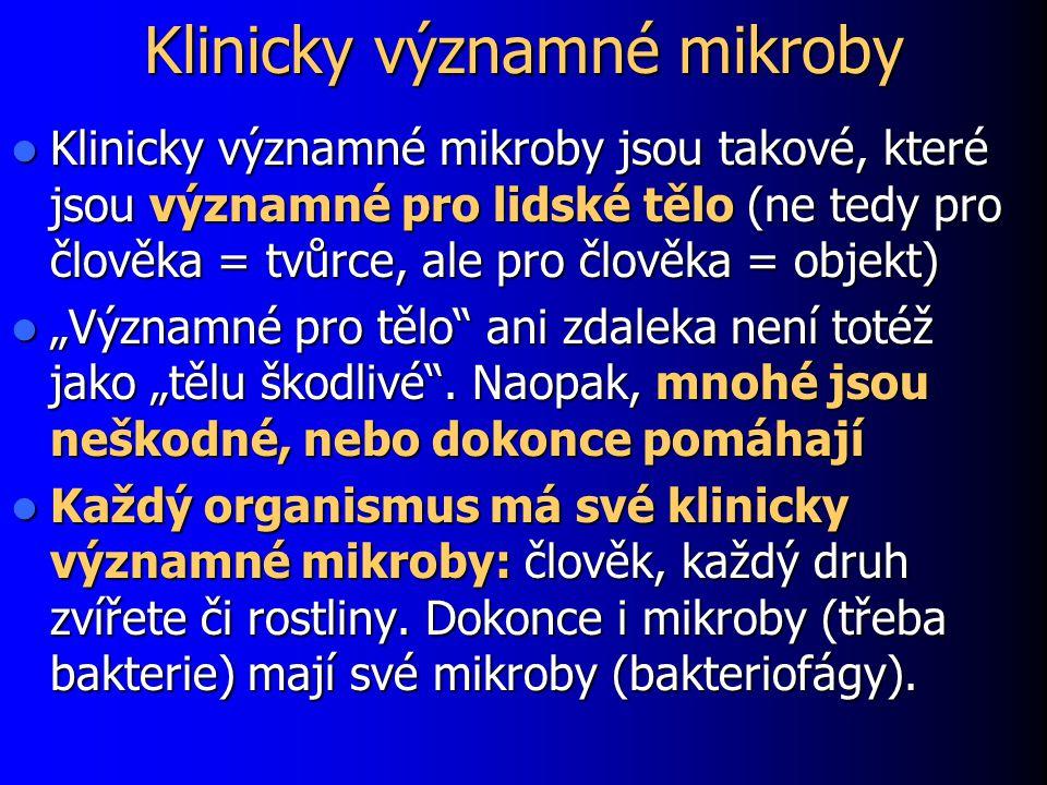 """Klinicky významné mikroby Klinicky významné mikroby jsou takové, které jsou významné pro lidské tělo (ne tedy pro člověka = tvůrce, ale pro člověka = objekt) Klinicky významné mikroby jsou takové, které jsou významné pro lidské tělo (ne tedy pro člověka = tvůrce, ale pro člověka = objekt) """"Významné pro tělo ani zdaleka není totéž jako """"tělu škodlivé ."""