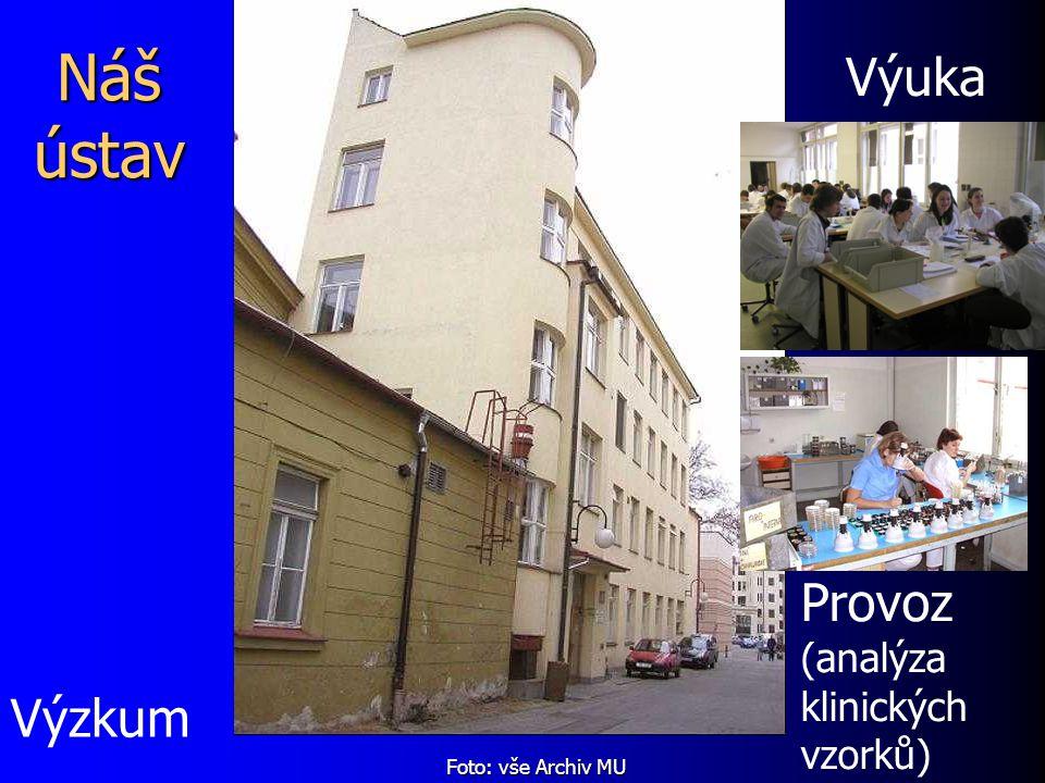 Náš ústav Provoz (analýza klinických vzorků) Výuka Výzkum Foto: vše Archiv MU