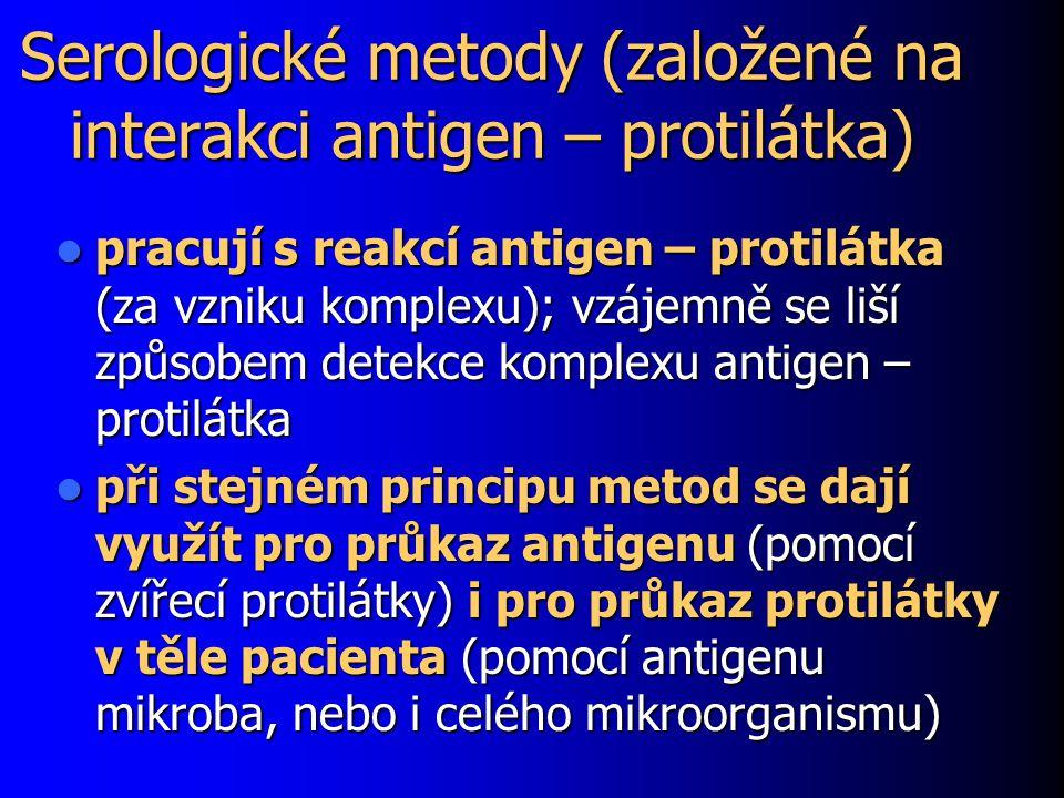 Serologické metody (založené na interakci antigen – protilátka) pracují s reakcí antigen – protilátka (za vzniku komplexu); vzájemně se liší způsobem detekce komplexu antigen – protilátka pracují s reakcí antigen – protilátka (za vzniku komplexu); vzájemně se liší způsobem detekce komplexu antigen – protilátka při stejném principu metod se dají využít pro průkaz antigenu (pomocí zvířecí protilátky) i pro průkaz protilátky v těle pacienta (pomocí antigenu mikroba, nebo i celého mikroorganismu) při stejném principu metod se dají využít pro průkaz antigenu (pomocí zvířecí protilátky) i pro průkaz protilátky v těle pacienta (pomocí antigenu mikroba, nebo i celého mikroorganismu)