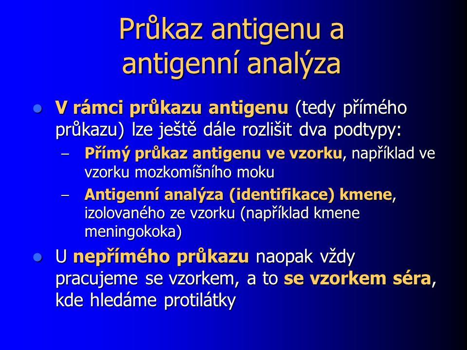 Průkaz antigenu a antigenní analýza V rámci průkazu antigenu (tedy přímého průkazu) lze ještě dále rozlišit dva podtypy: V rámci průkazu antigenu (tedy přímého průkazu) lze ještě dále rozlišit dva podtypy: – Přímý průkaz antigenu ve vzorku, například ve vzorku mozkomíšního moku – Antigenní analýza (identifikace) kmene, izolovaného ze vzorku (například kmene meningokoka) U nepřímého průkazu naopak vždy pracujeme se vzorkem, a to se vzorkem séra, kde hledáme protilátky U nepřímého průkazu naopak vždy pracujeme se vzorkem, a to se vzorkem séra, kde hledáme protilátky