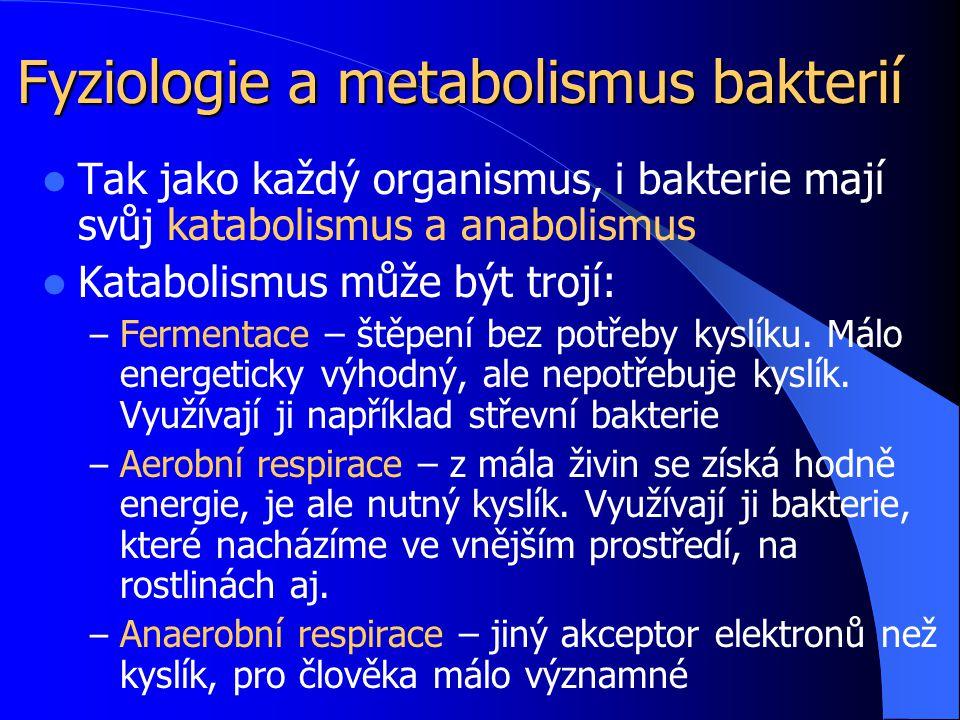 Fyziologie a metabolismus bakterií Tak jako každý organismus, i bakterie mají svůj katabolismus a anabolismus Katabolismus může být trojí: – Fermentace – štěpení bez potřeby kyslíku.