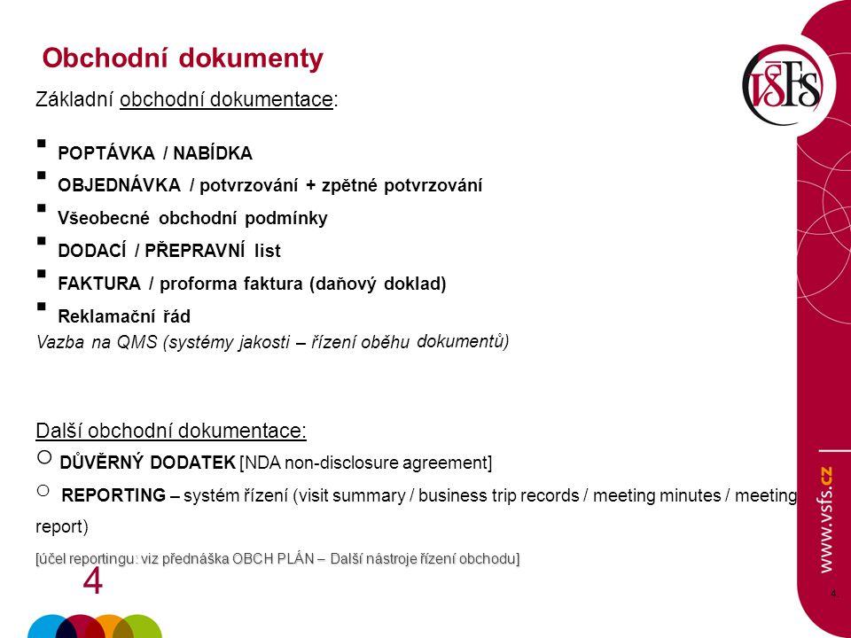 4 4.4. Základní obchodní dokumentace:  POPTÁVKA / NABÍDKA  OBJEDNÁVKA / potvrzování + zpětné potvrzování  Všeobecné obchodní podmínky  DODACÍ / PŘ