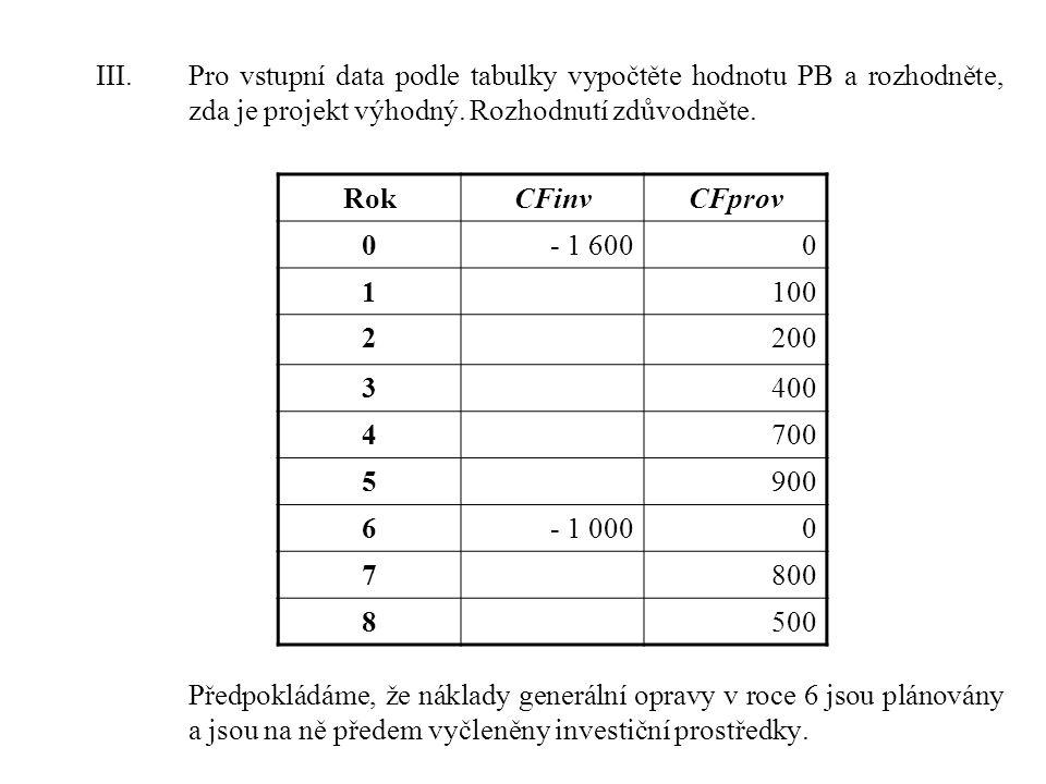 III.Pro vstupní data podle tabulky vypočtěte hodnotu PB a rozhodněte, zda je projekt výhodný.