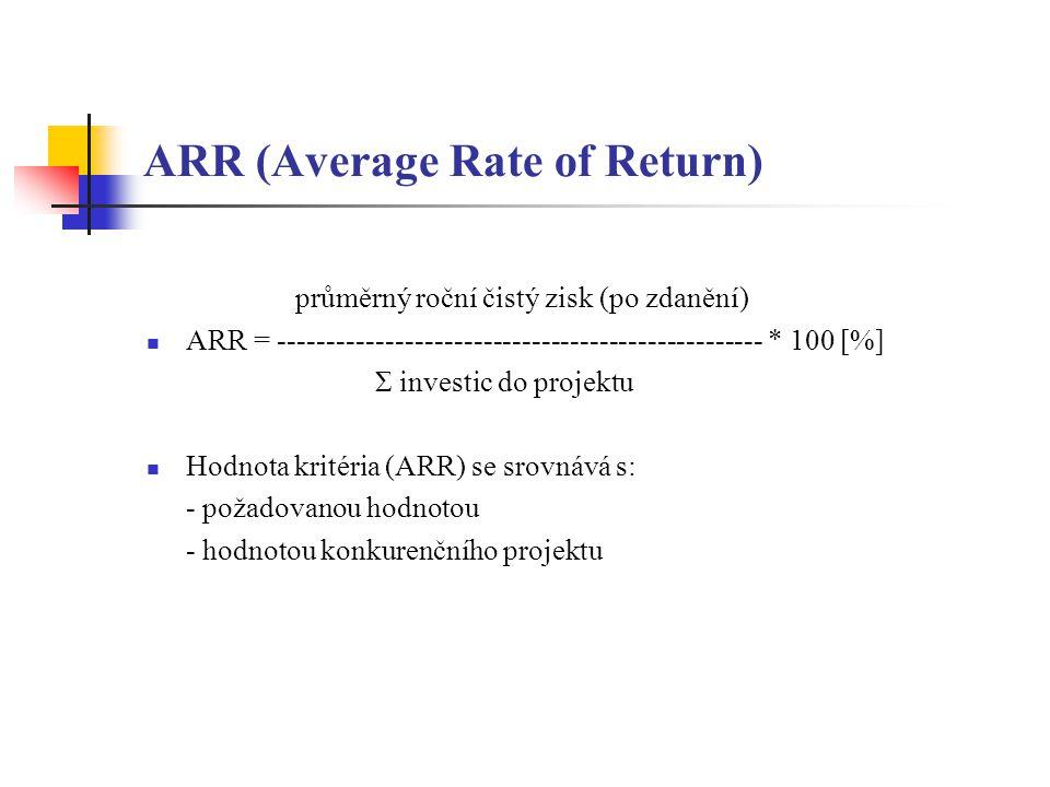 ARR (Average Rate of Return) průměrný roční čistý zisk (po zdanění) ARR = -------------------------------------------------- * 100 [%] Σ investic do projektu Hodnota kritéria (ARR) se srovnává s: - požadovanou hodnotou - hodnotou konkurenčního projektu