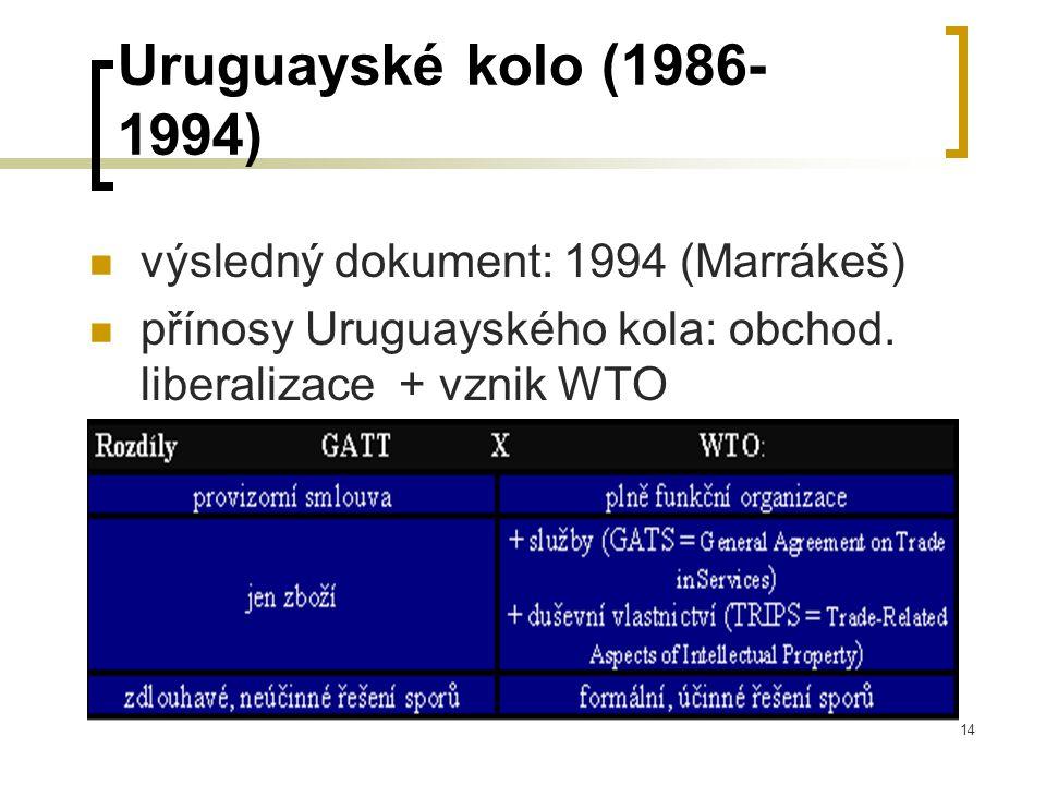 14 Uruguayské kolo (1986- 1994) výsledný dokument: 1994 (Marrákeš) přínosy Uruguayského kola: obchod. liberalizace + vznik WTO
