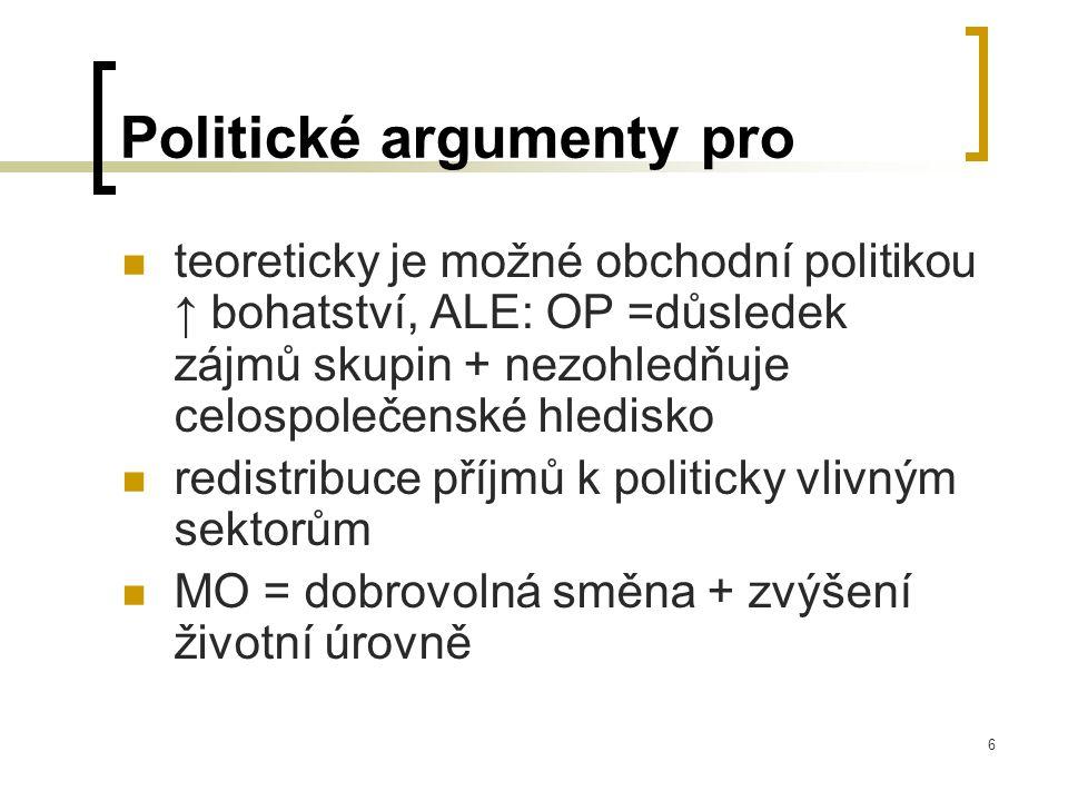 6 Politické argumenty pro teoreticky je možné obchodní politikou ↑ bohatství, ALE: OP =důsledek zájmů skupin + nezohledňuje celospolečenské hledisko r