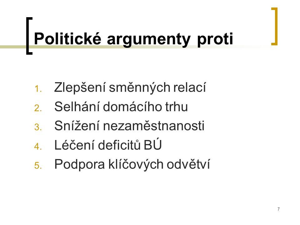 7 Politické argumenty proti 1. Zlepšení směnných relací 2. Selhání domácího trhu 3. Snížení nezaměstnanosti 4. Léčení deficitů BÚ 5. Podpora klíčových