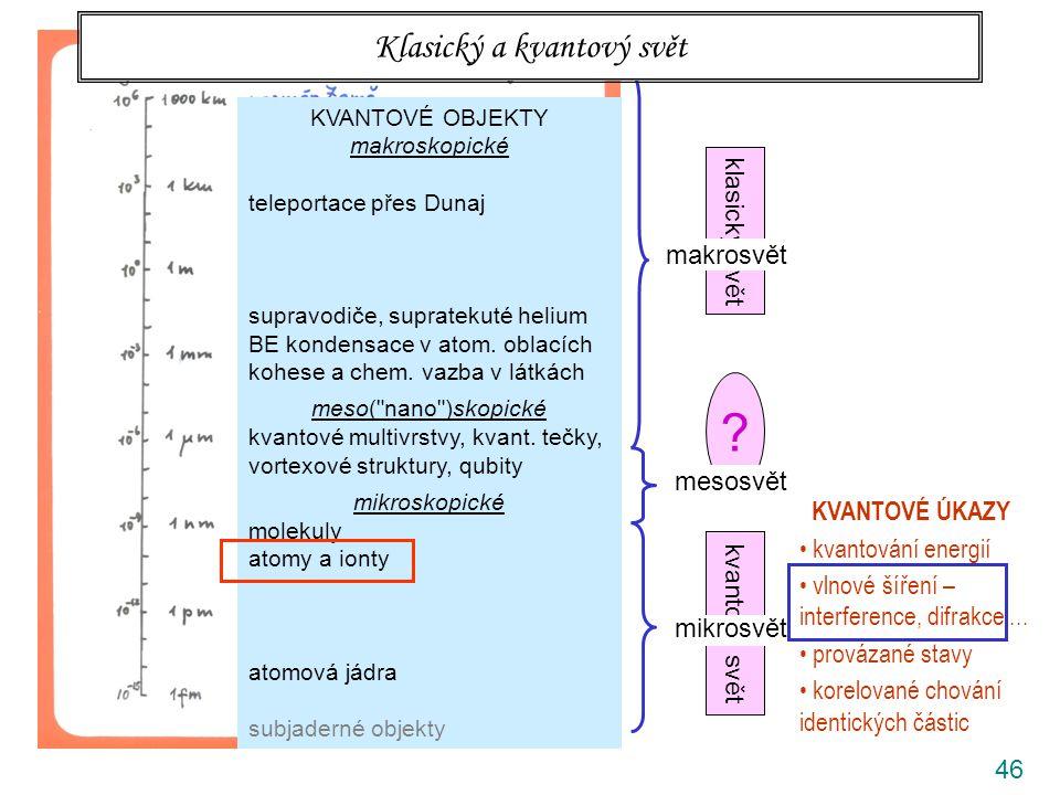 46 klasický svět kvantový svět ? rozlišovací mez prostého oka makrosvět mesosvět mikrosvět Klasický a kvantový svět KVANTOVÉ ÚKAZY kvantování energií