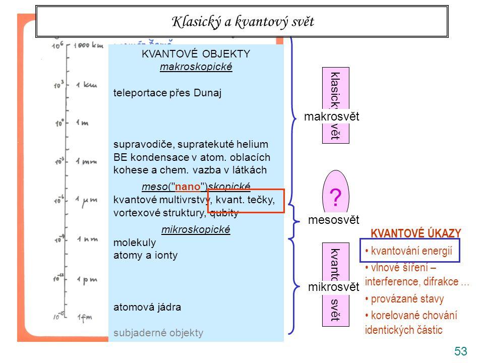 53 klasický svět kvantový svět ? rozlišovací mez prostého oka makrosvět mesosvět mikrosvět Klasický a kvantový svět KVANTOVÉ OBJEKTY makroskopické tel