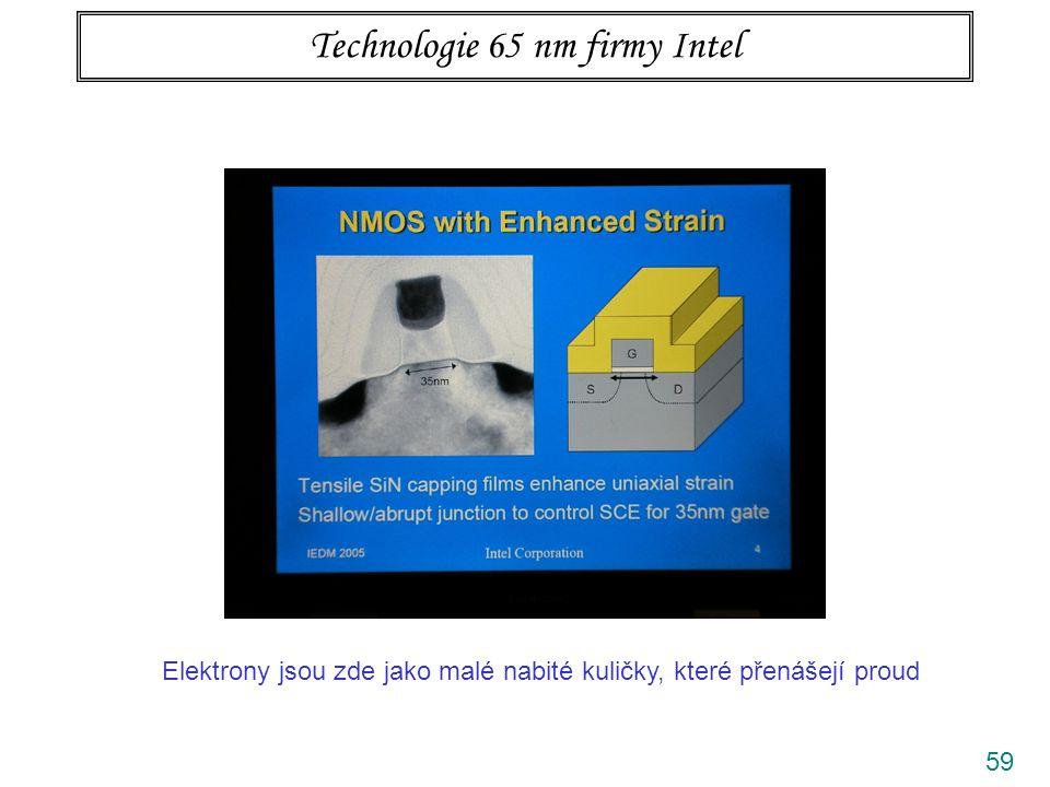 59 Technologie 65 nm firmy Intel Elektrony jsou zde jako malé nabité kuličky, které přenášejí proud