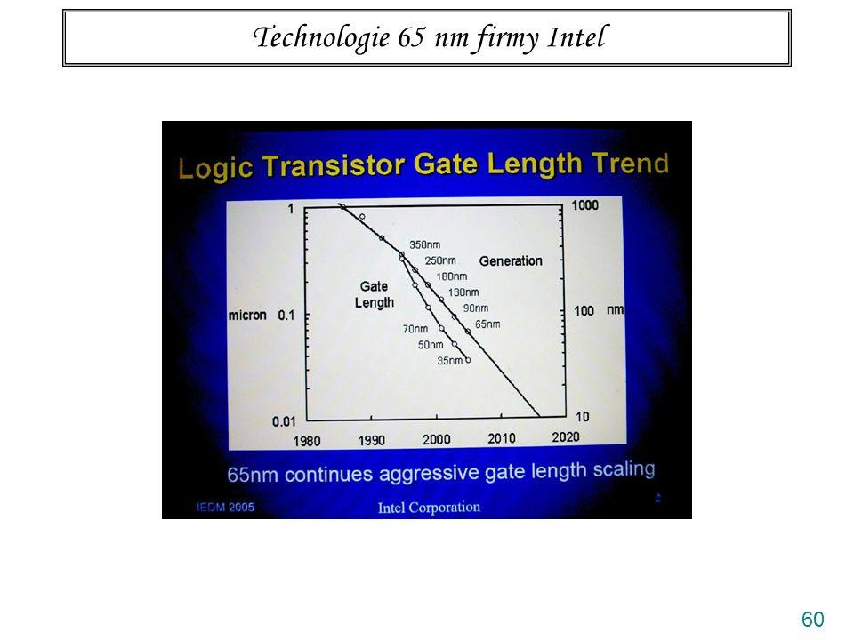 61 Technologie 65 nm firmy Intel ? Postupné nenápadné přibližování ke kvantové limitě