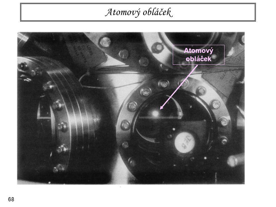 69 Princip experimentu s interferencí atomů 1.Atomový obláček vytvořený v pasti 2.