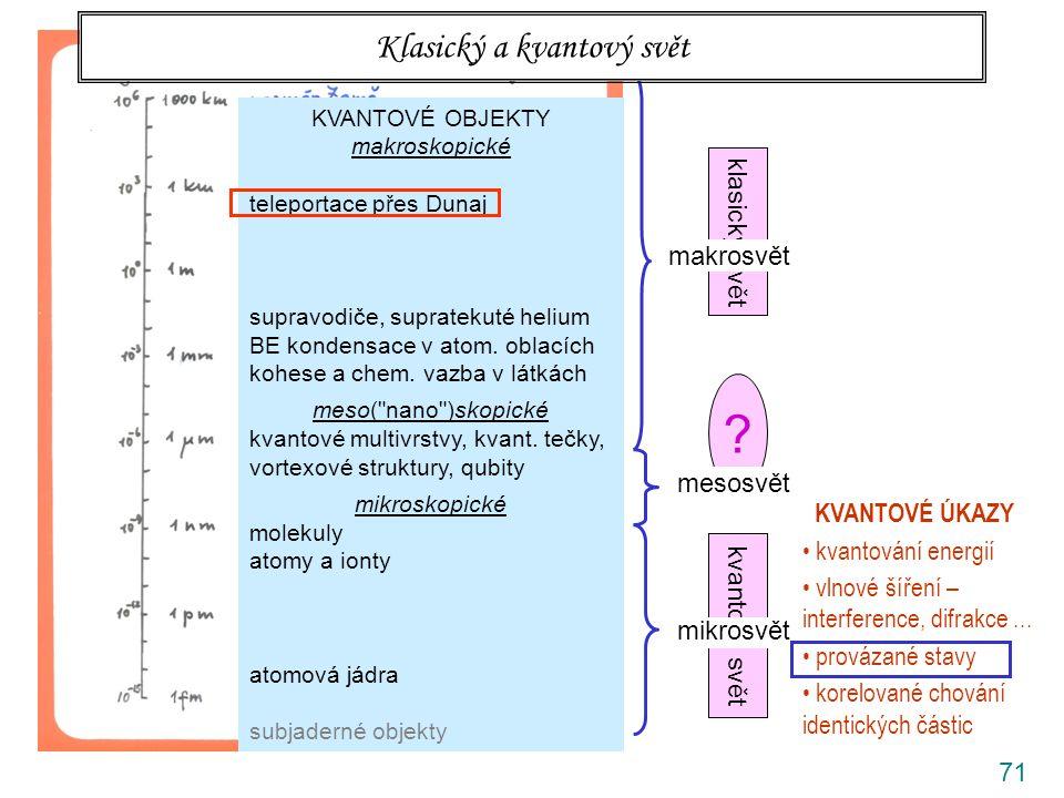 71 klasický svět kvantový svět ? rozlišovací mez prostého oka makrosvět mesosvět mikrosvět Klasický a kvantový svět KVANTOVÉ OBJEKTY makroskopické tel