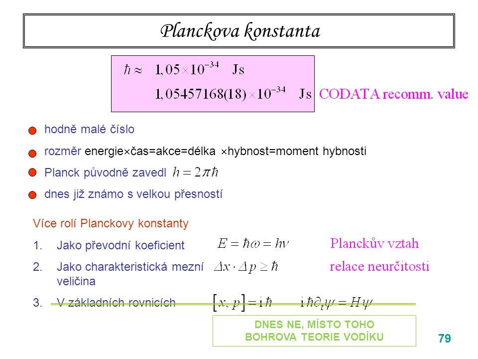 79 Planckova konstanta Více rolí Planckovy konstanty 1.Jako převodní koeficient 2.Jako charakteristická mezní veličina 3.V základních rovnicích hodně
