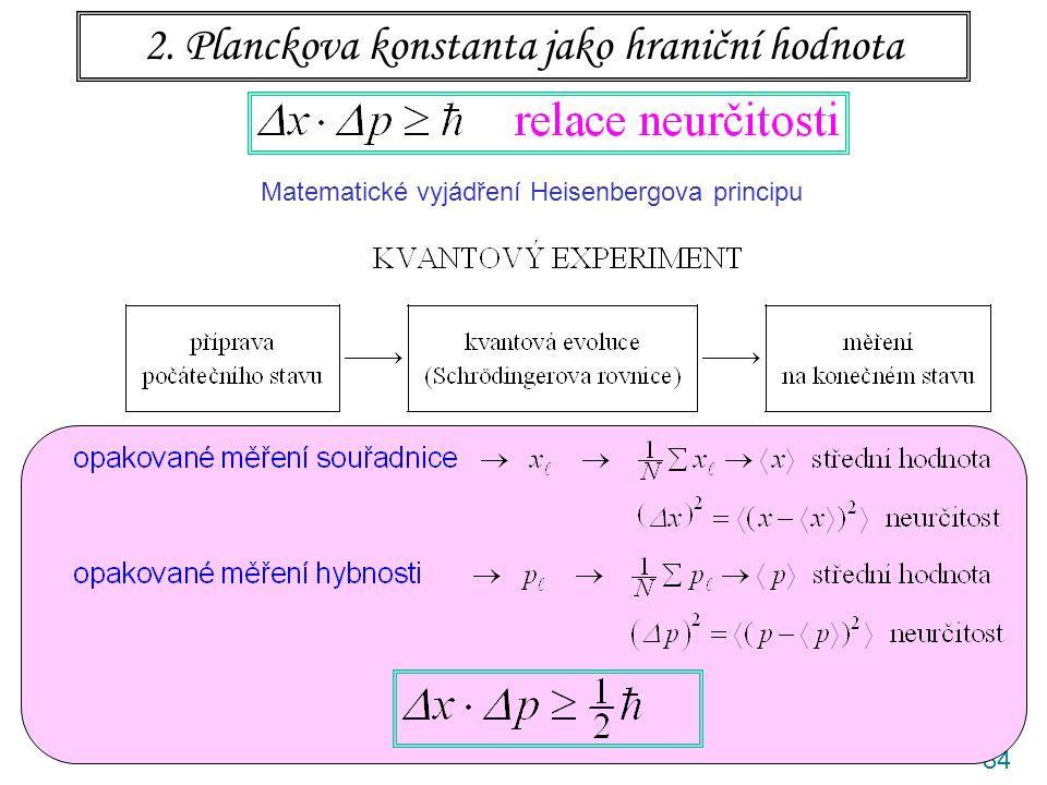 84 2. Planckova konstanta jako hraniční hodnota Matematické vyjádření Heisenbergova principu
