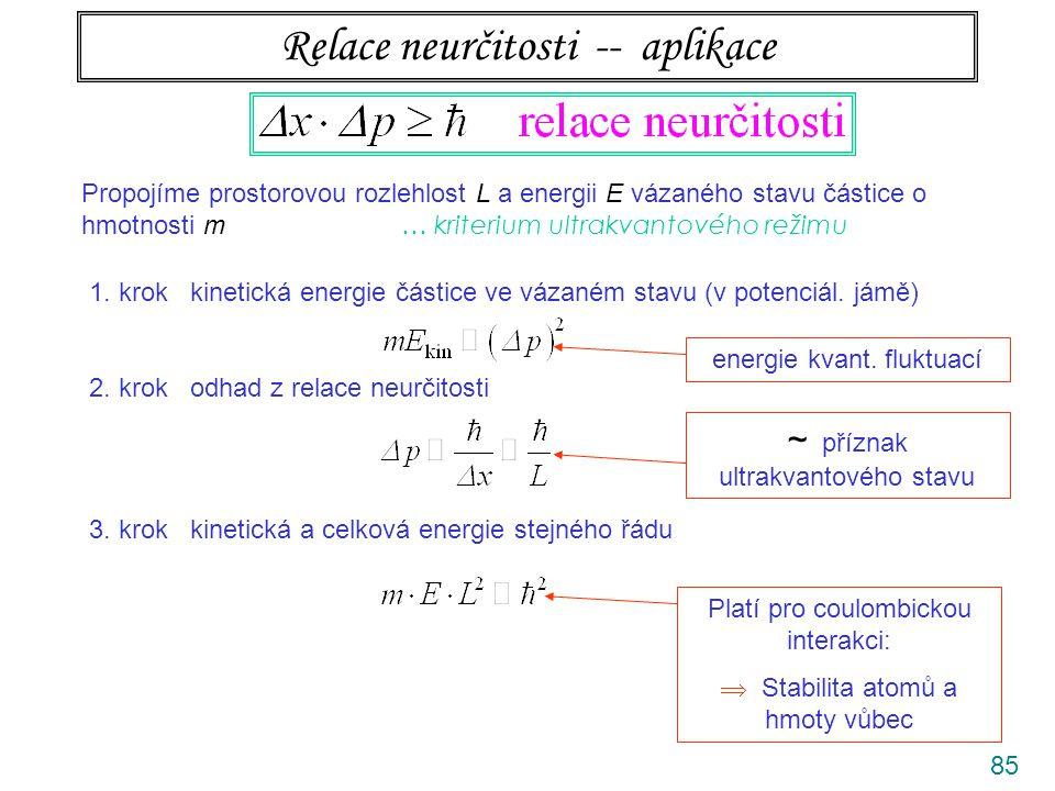 86 Relace neurčitosti -- aplikace Propojíme prostorovou rozlehlost L a energii E vázaného stavu částice o hmotnosti m … kriterium superkvantového režimu 1.