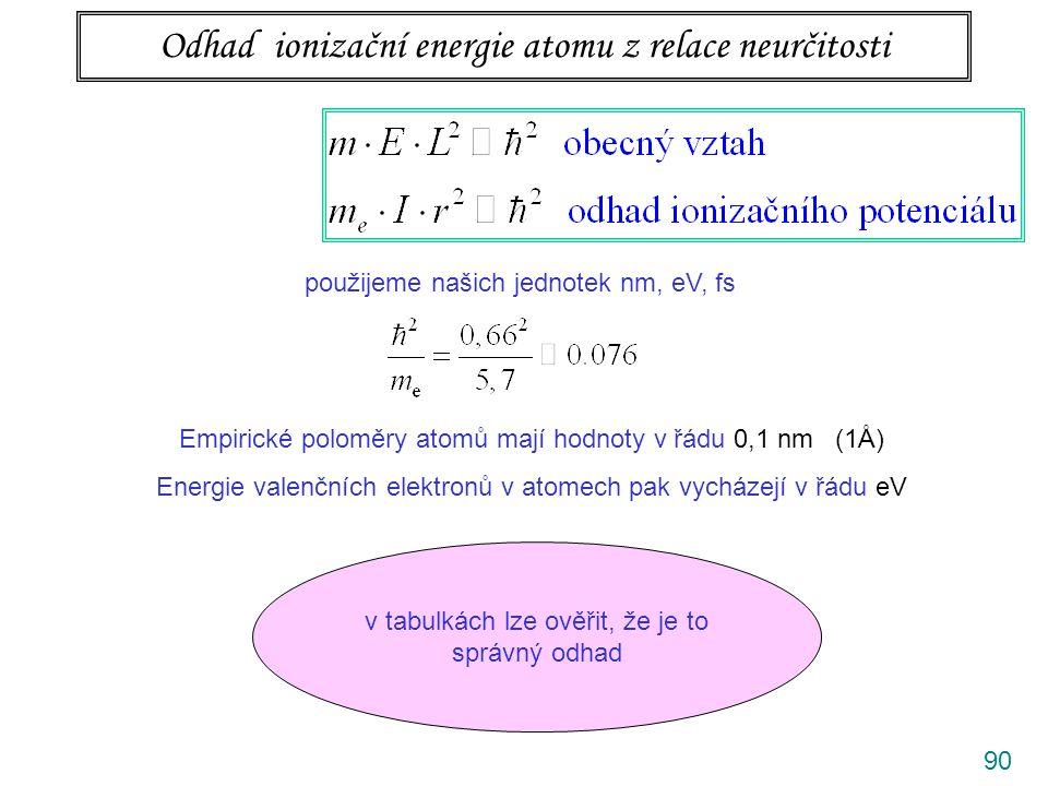 90 Odhad ionizační energie atomu z relace neurčitosti použijeme našich jednotek nm, eV, fs Empirické poloměry atomů mají hodnoty v řádu 0,1 nm (1Å) En