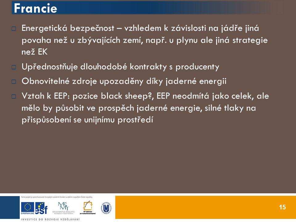 Francie 15  Energetická bezpečnost – vzhledem k závislosti na jádře jiná povaha než u zbývajících zemí, např.