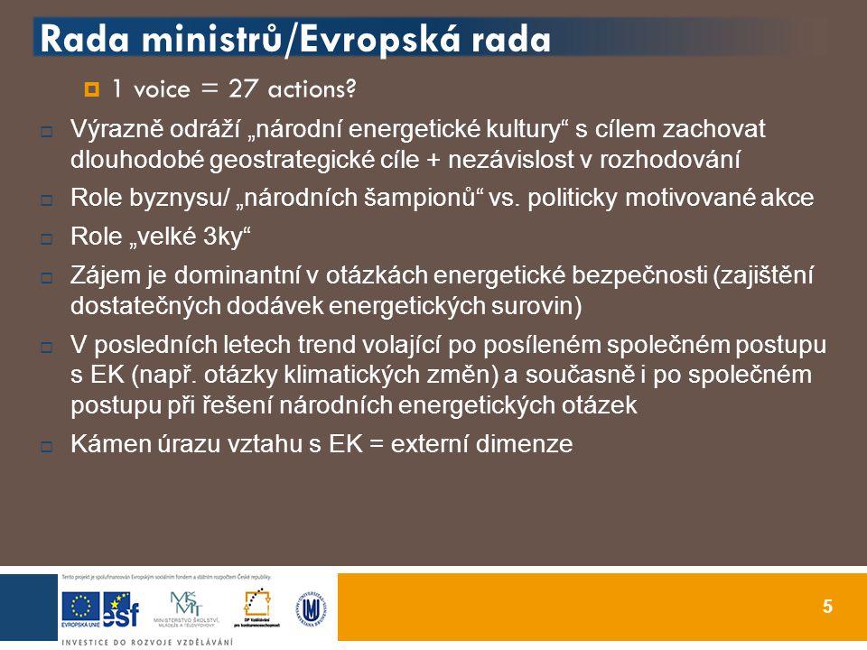 Rada ministrů/Evropská rada  1 voice = 27 actions.