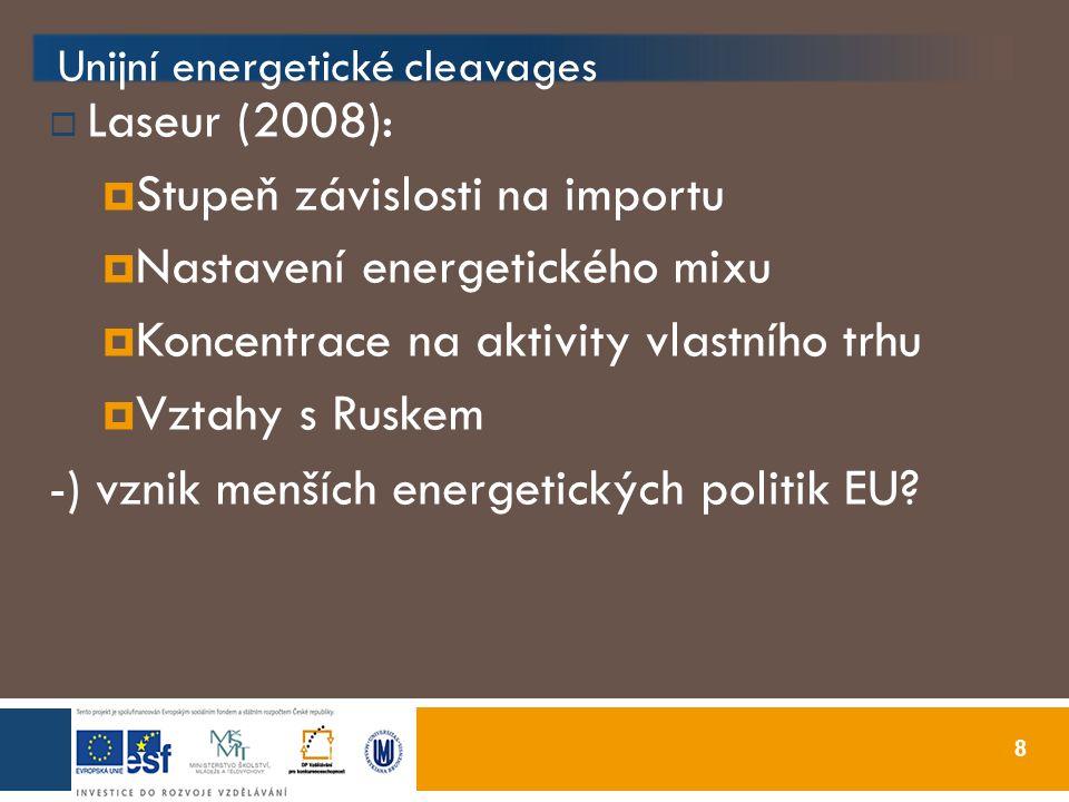 8 Unijní energetické cleavages  Laseur (2008):  Stupeň závislosti na importu  Nastavení energetického mixu  Koncentrace na aktivity vlastního trhu  Vztahy s Ruskem -) vznik menších energetických politik EU